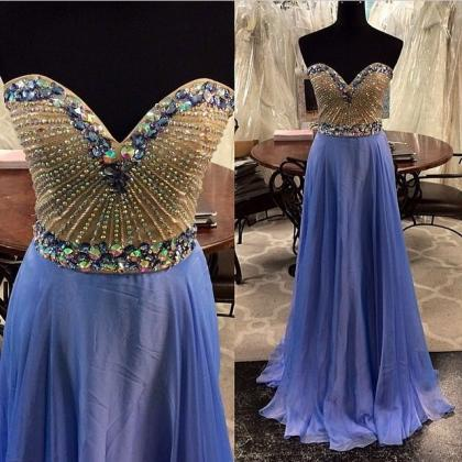 luxury blue chiffon prom dresses 2016 new sweetheart crystal prom dress crystal evening dress chiffon formal pageant gown wedding party dress