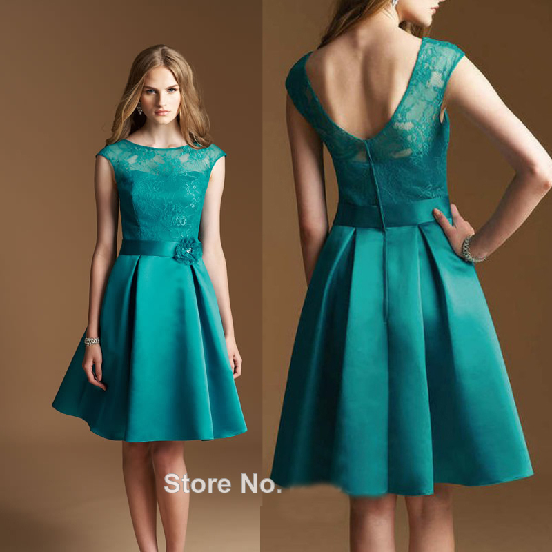 Elegant Short Blue Bridesmaids Dresses 2016 Lace Chiffon Wedding ...