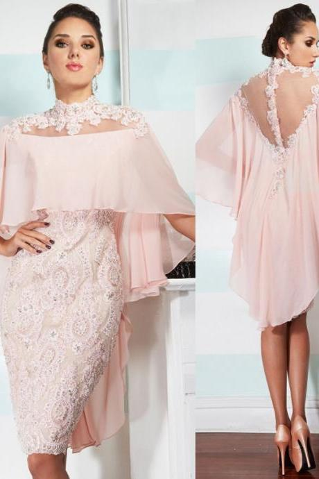 mother of the bride dresses with long cape . pink prom dresses .elegant short mother dress,appliques see though evening gowns,tea-length summer dress