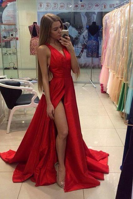 New Luxry A-line Red Evening Dress. Vestido De Festa .Long Evening Gowns .Red Prom Dresses. V-Neck Formal Dress,Sexy High Split Dresses