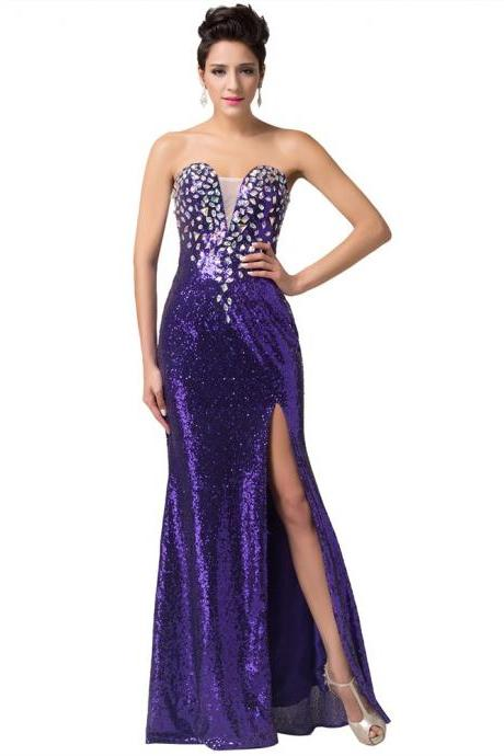 sexy purple long prom dresses sweetheart beading prom dresses high slit sequin prom gowns slim evening dress Bridesmaid Dresses foraml gown for wedding guest party