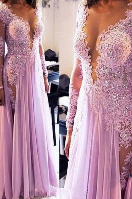 fashion light purple prom dresses lilac dress appliques lace prom dress long sleeves beading evening dress women sexy evening dress formal prom party gown