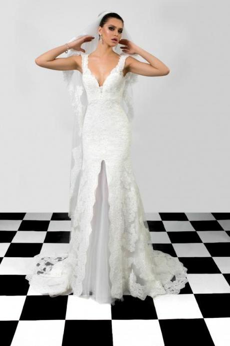 Sleeveless Plunging V Lace Mermaid Wedding Dress Featuring Cutout Back