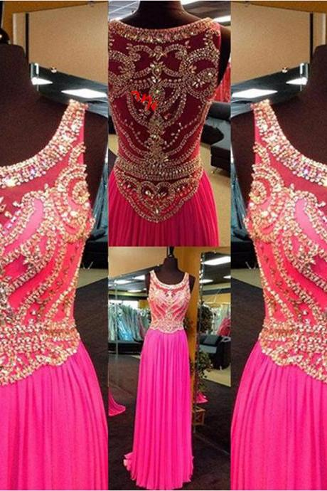 real picture dark pink prom dress 2016 luxury beaded crystal prom dress chiffon long evening dress women pageant dress formal party dress