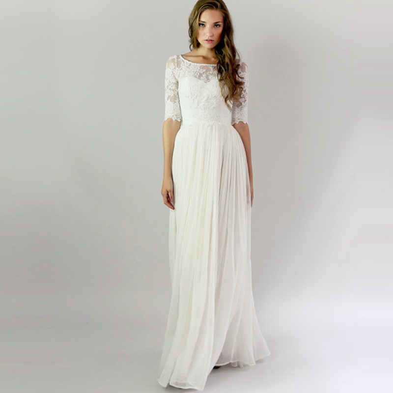 Simple white lace boho wedding dress 2016 hot sale boat for Wedding dresses with half sleeves